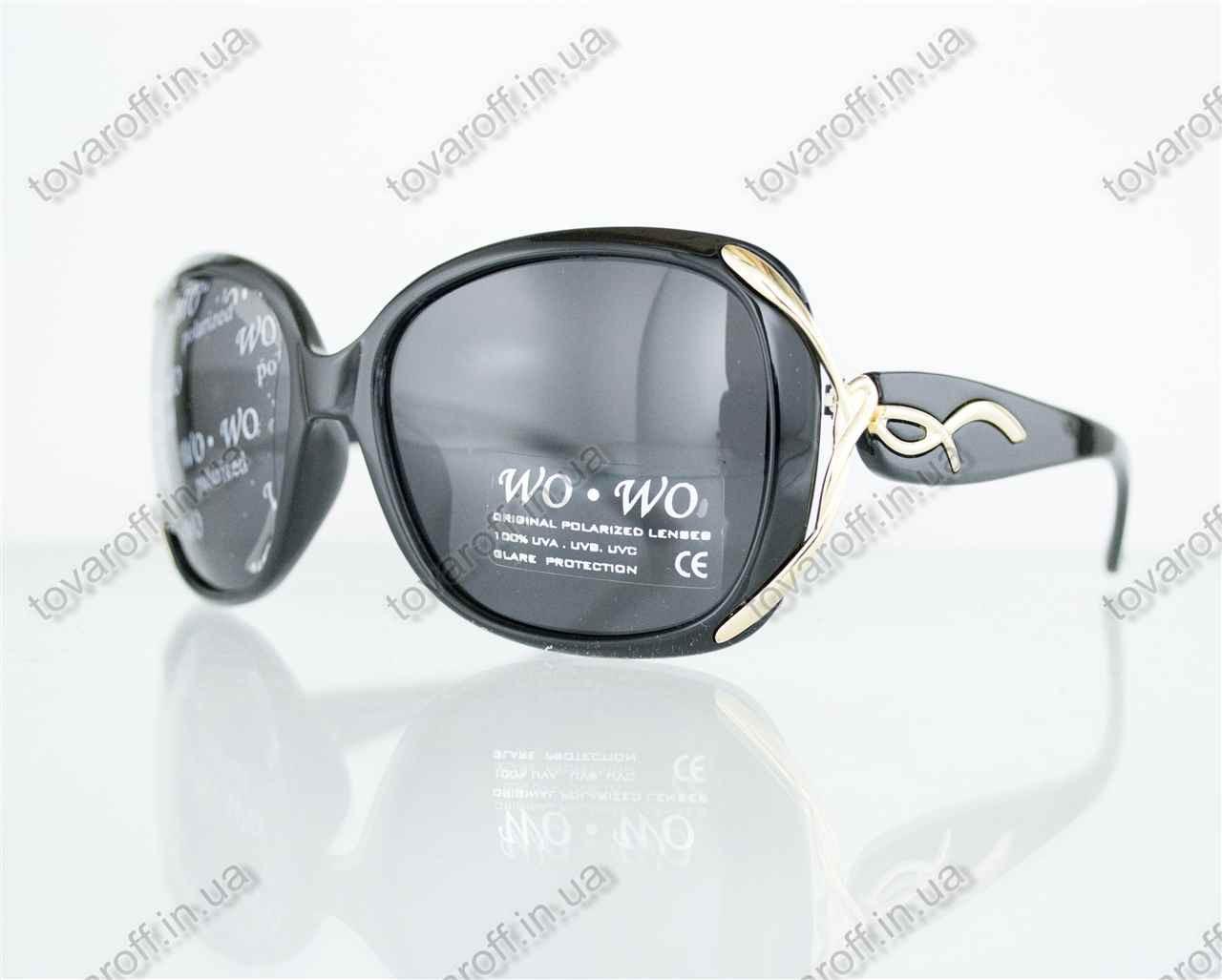 Оптом очки женские солнцезащитные поляризационные - Черные - 8164