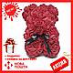 Красивый мишка из латексных 3D роз 25 см с лентой в подарочной коробке | Темно красный, фото 2