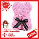 Красивый мишка из латексных 3D роз 25 см с лентой в подарочной коробке | Темно красный, фото 4