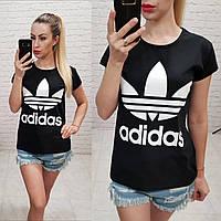 Женская футболка 100% катон реплика Adidas Турция черная, фото 1