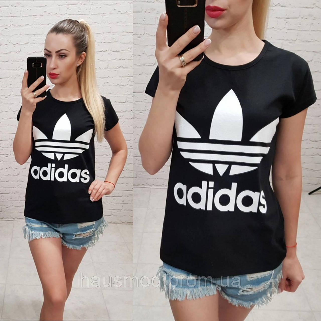 Женская футболка 100% катон реплика Adidas Турция черная