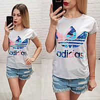 Женская футболка 100% катон реплика Adidas Турция цветной принт серая, фото 1