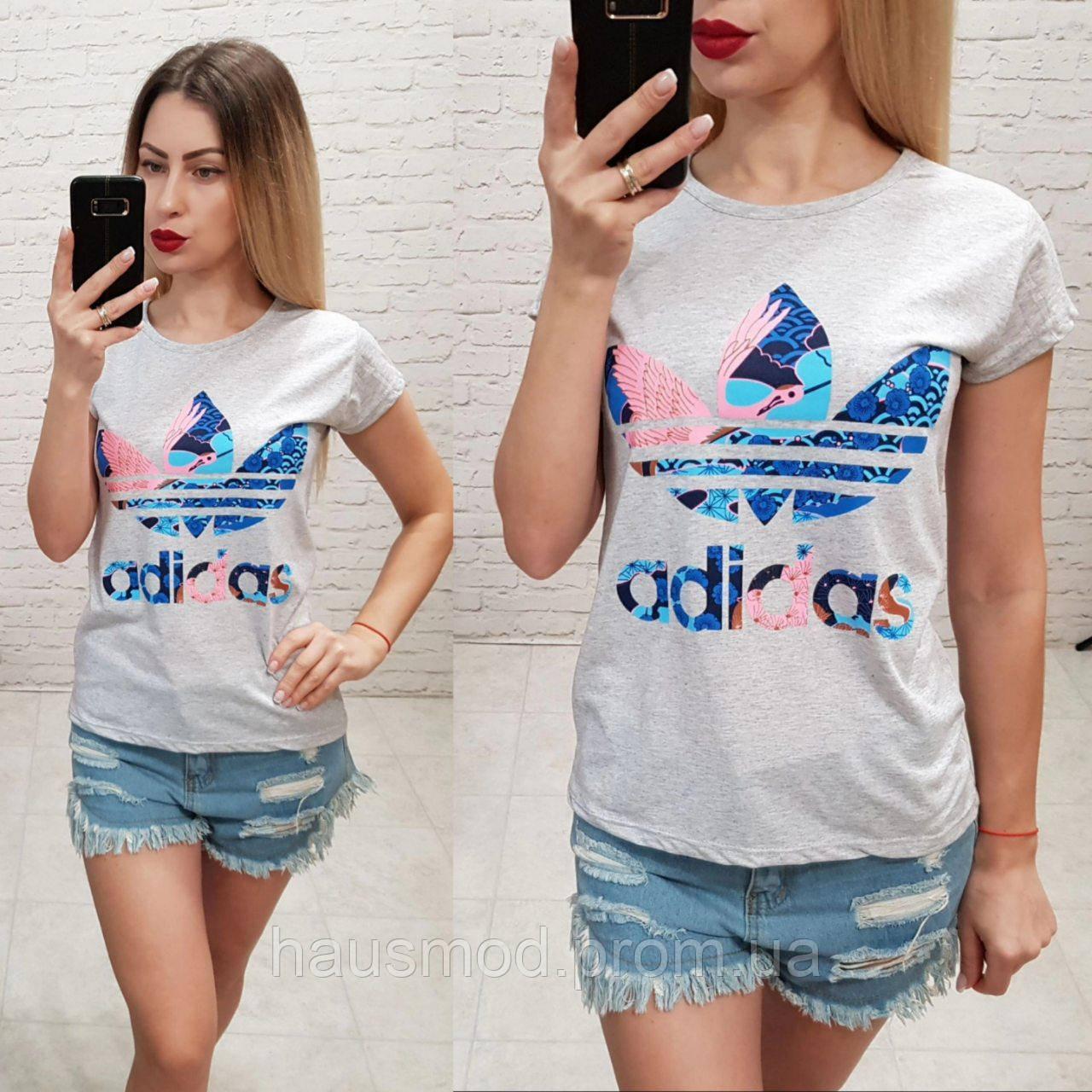 Женская футболка 100% катон реплика Adidas Турция цветной принт серая