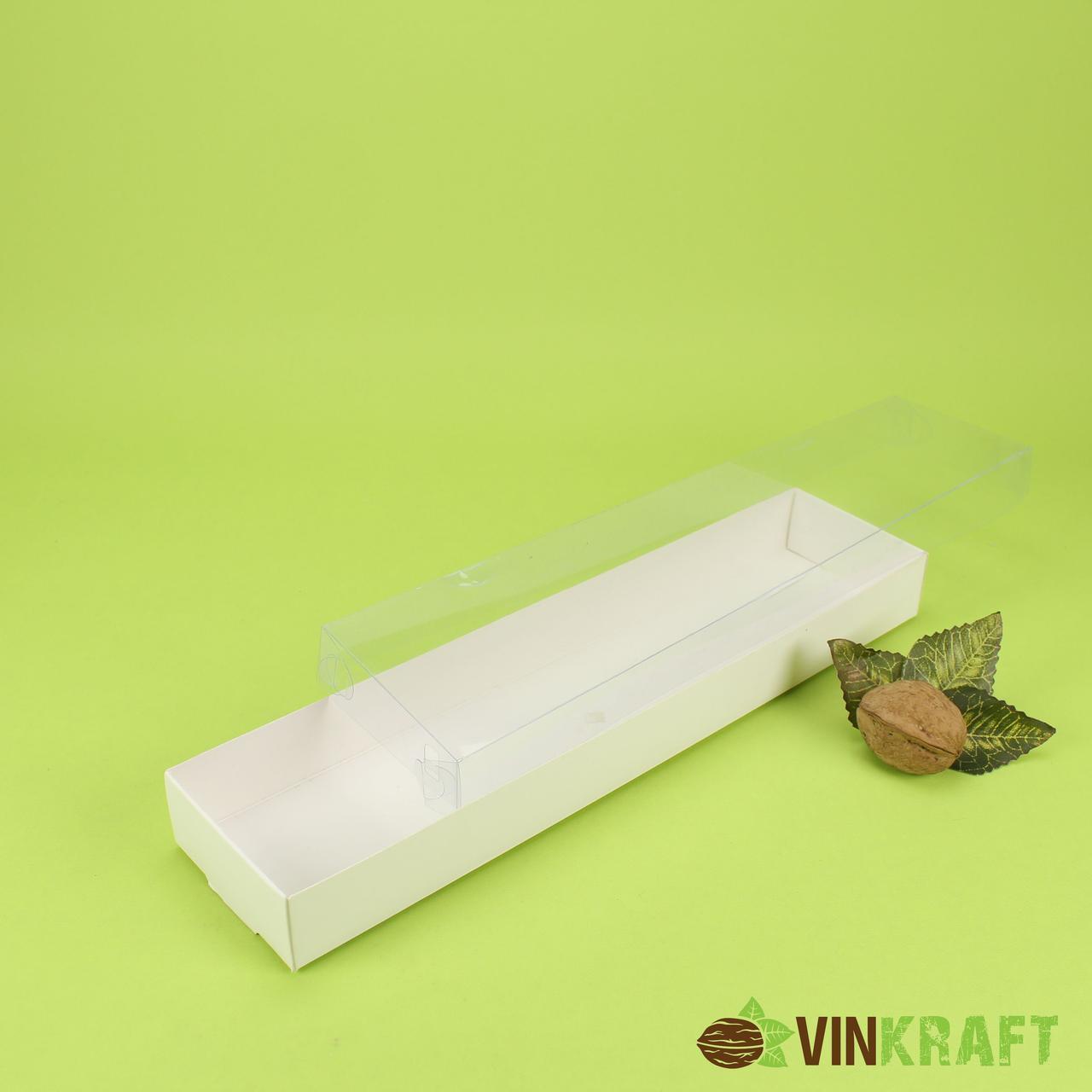 Коробка 300*70*30 для пряника с ПВХ крышкой, белая