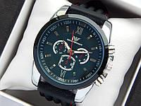 Мужские наручные часы Emporio Armani на каучуковом ремешке с красной строчкой, черный циферблат, фото 1