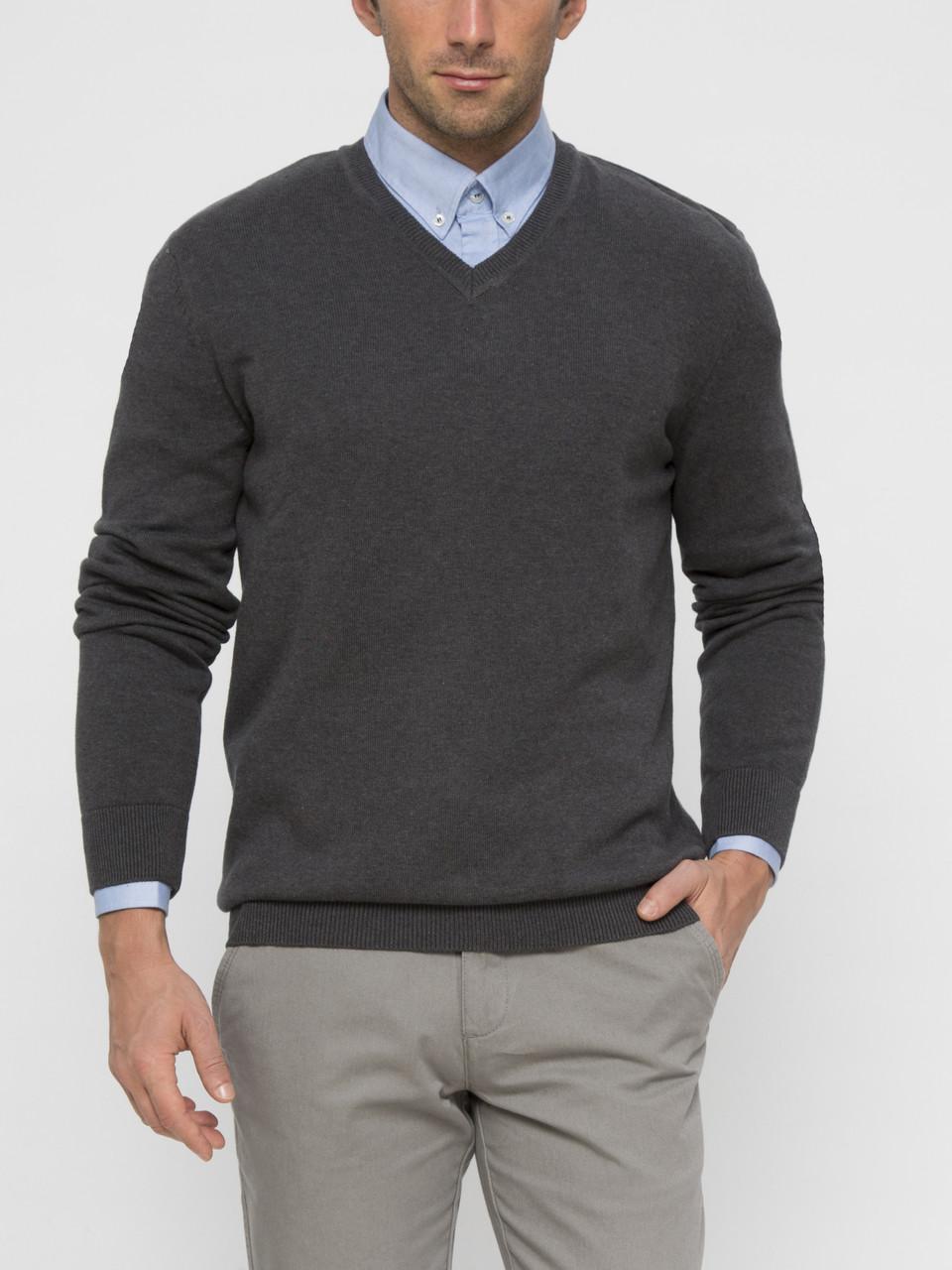 Cерый мужской свитер LC Waikiki / ЛС Вайкики с V-образным вырезом