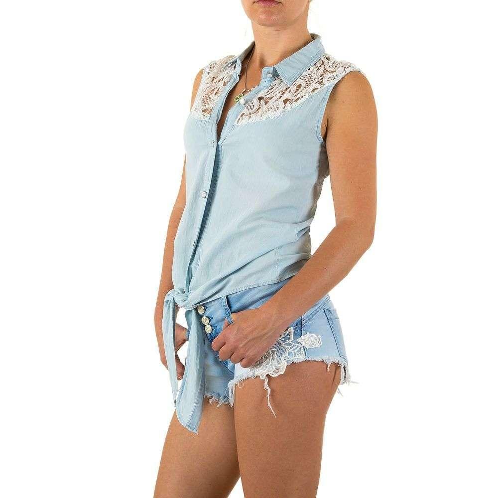 Джинсовая блуза без рукавов на завязках с гипюром Realty Jeans (Европа) Голубой