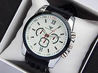 Мужские наручные часы Emporio Armani на каучуковом ремешке с белой строчкой, белый циферблат