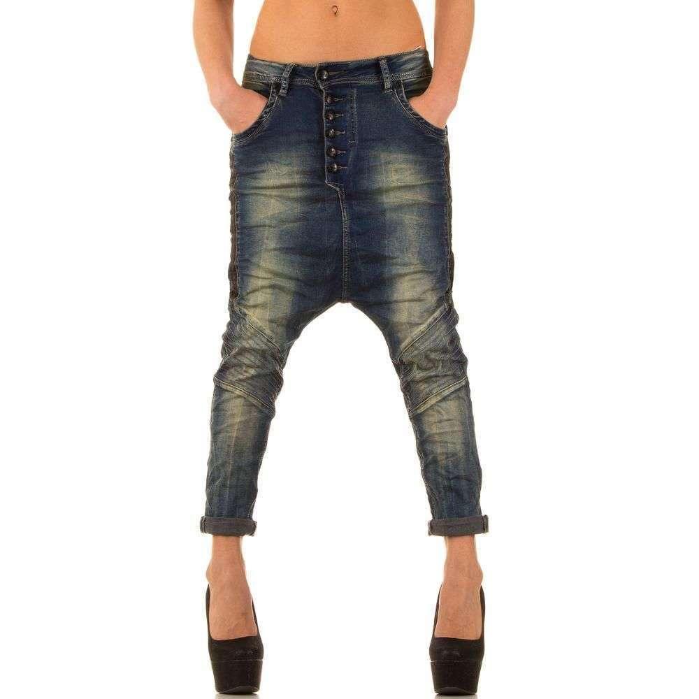 Женские потертые джинсы с матней (Европа), Синий