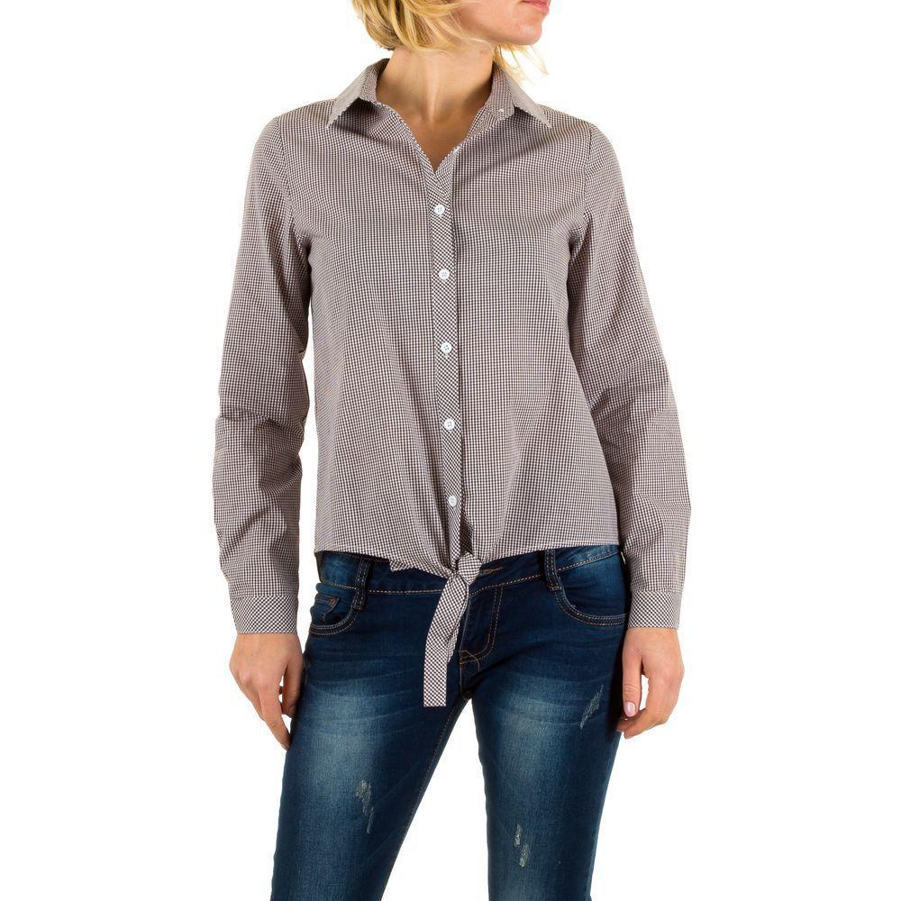 Женская укороченная рубашка в клетку с завязками (Европа) Коричневый