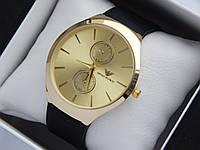 Кварцові наручні годинники Emporio Armani золотистого кольору на чорному каучуковому ремінці, фото 1