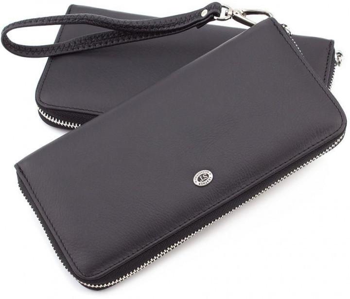Клатч мужской из натуральной кожи в черном цвете горизонтальном стиле  ST Leather 45 Black