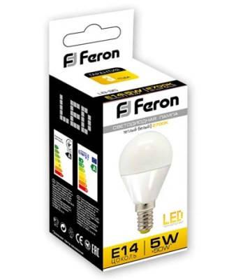 Светодиодная лампа Feron LB-95 G45 E14 5W 2700K 230V Код.58342, фото 2