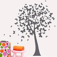 Интерьерная виниловая наклейка Дерево бабочек (ПВХ наклейки стикеры декор пленка самоклеющаяся) глянцевая 830х1200 мм, фото 1