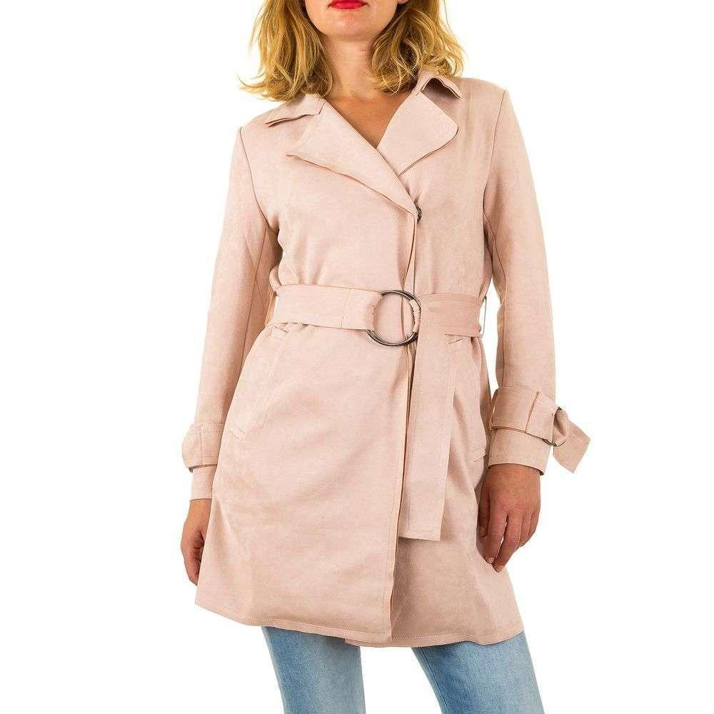 Пальто с запахом и поясом женское (Европа) Пудровый