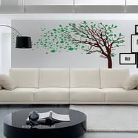 Интерьерная виниловая наклейка на обои Дерево с листьями на ветру (самоклеющаяся пленка)
