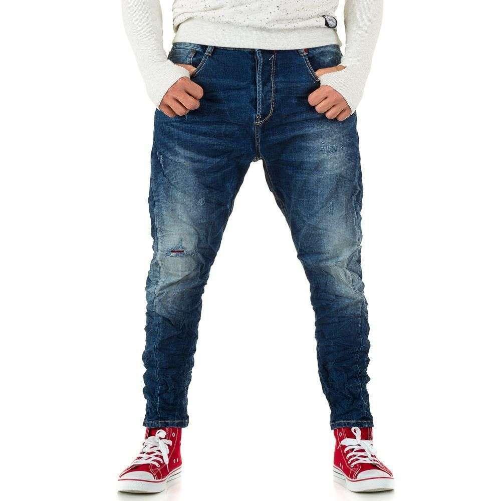 Мятые джинсы мужские с матней Y.Two Jeans (Италия), Синий