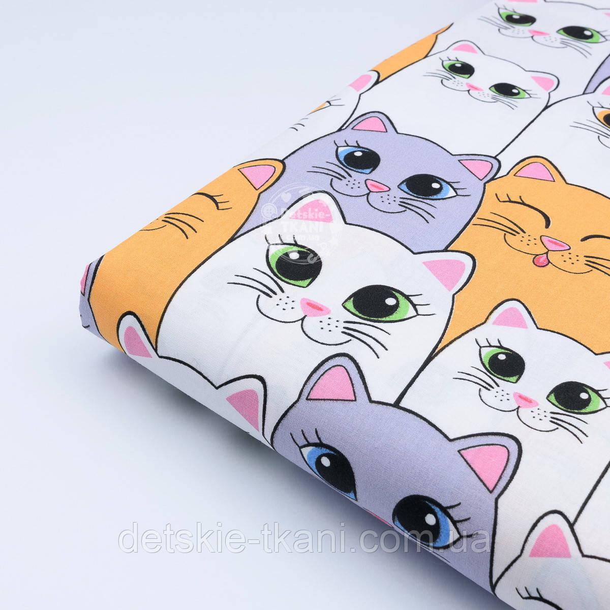 Отрез ткани №1012 с большими котами серо-оранжевыми размер 75*160