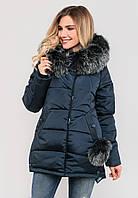 Зимняя модная женская куртка с бубонами и мехом, на силиконе Modniy Oazis черный 90317