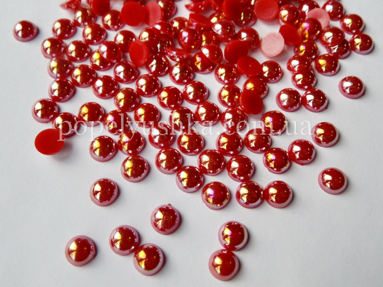 Половинки намистин 8 мм червоні хамелеони (50 шт)