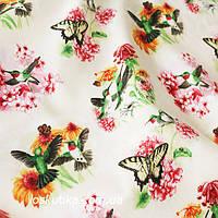 42017 Колибри и бабочки. Ткань с бабочками и птичками. Американский хлопок. Квилтинговые ткани.