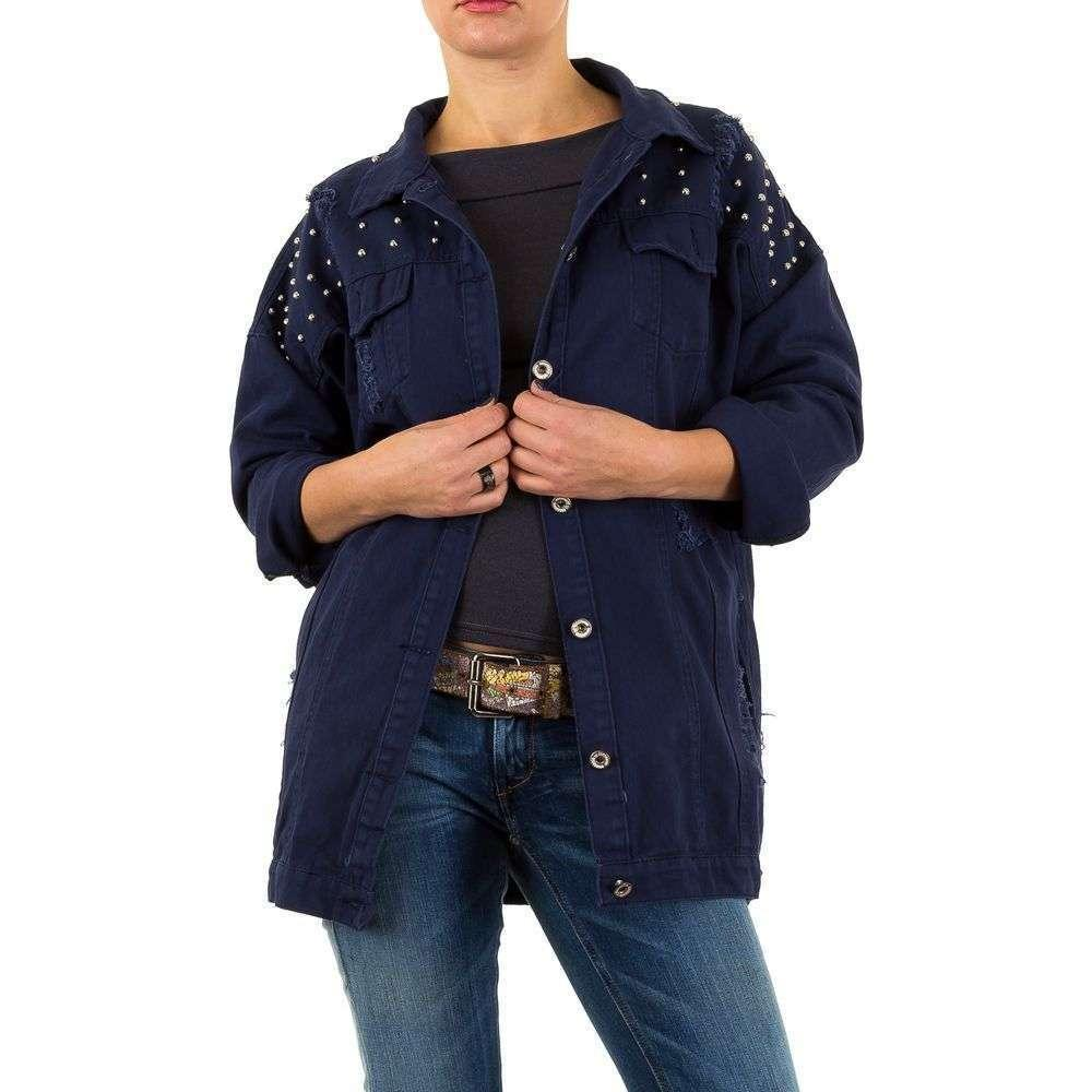 Удлиненная котоновая куртка оверсайз с бусинами Noemi Kent Paris (Франция) Темно-синий S/36, Темно-синий