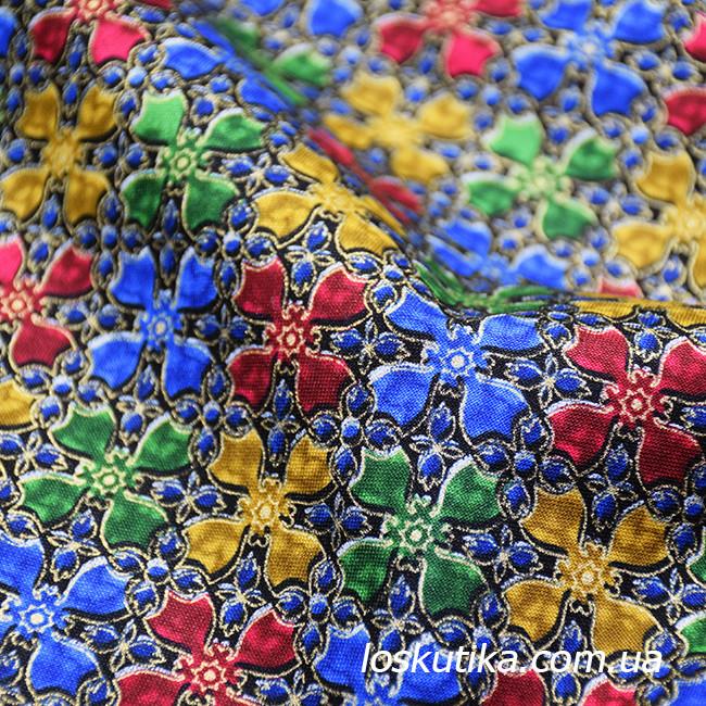 48004 Ткань витражная с золотом. Ткань с позолотой для изделий ручной работы и лоскутного шитья.