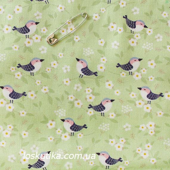 45019 Синички (фон зеленый). Ткани с изображением птиц для лоскутного шитья и рукоделия.
