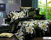 Постельное белье «Белые цветы на зеленом» полуторный размер