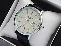Кварцевые наручные часы Patek Philippe geneve стальног цвета с белым циферблатом, индикация даты, на ремешке, фото 1