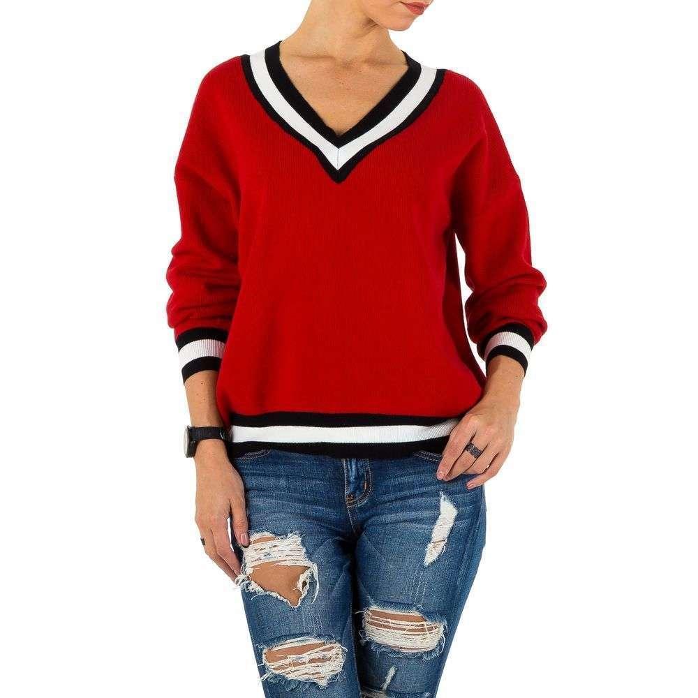 Женский пуловер с полосатой отделкой трехцветный (Европа), Красный