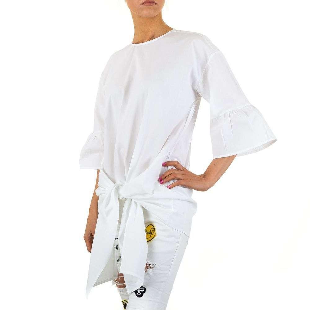 Женская удлиненная блузка с завязками спереди  (Европа) Белый