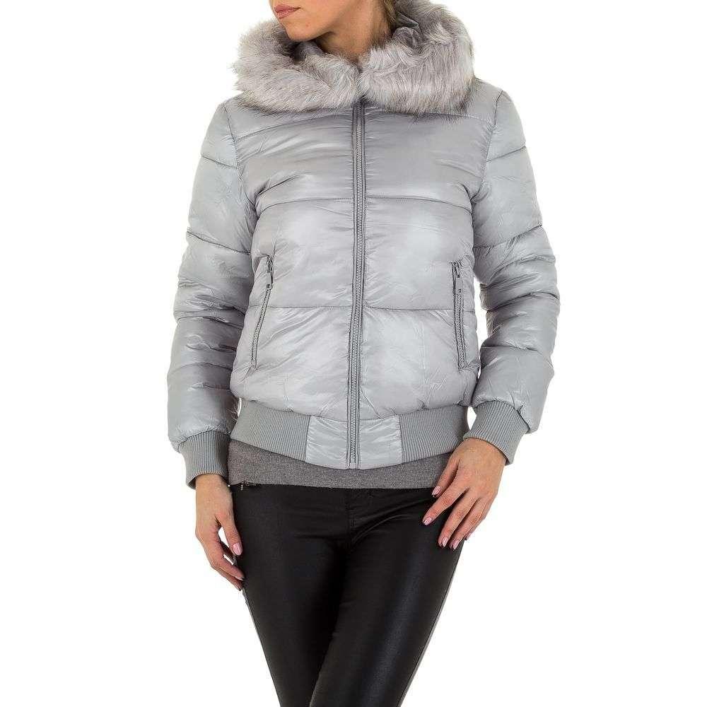 Куртка бомбер на синтепоне женская с капюшоном Emmash (Франция), Серый