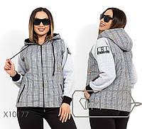 Короткая куртка с подкладом синтепон 100, капюшоном и рукавами из трикотажа на флисе, 2 цвета