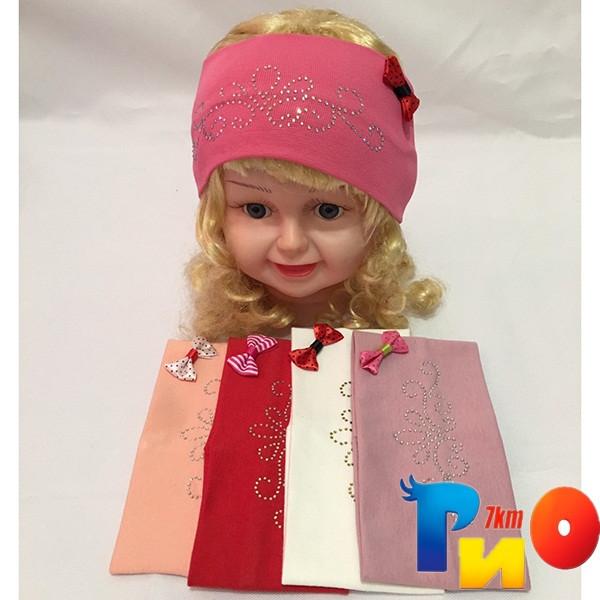 Детская повязка со стразами, трикотаж  для девочек р-р 48-50 см (5 ед в уп) NA_1835