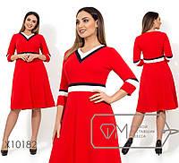 Платье из кукурузы с юбкой-солнце и контрастными вставками на V-образном вырезе, 2 цвета