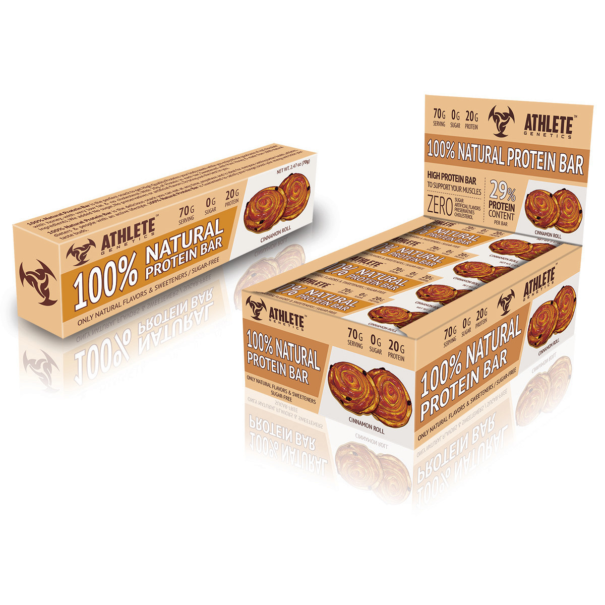 Батончик Athlete Genetics - 100% Natural Protein Bar (70 грамм)  cinnamon roll/булочка с корицей