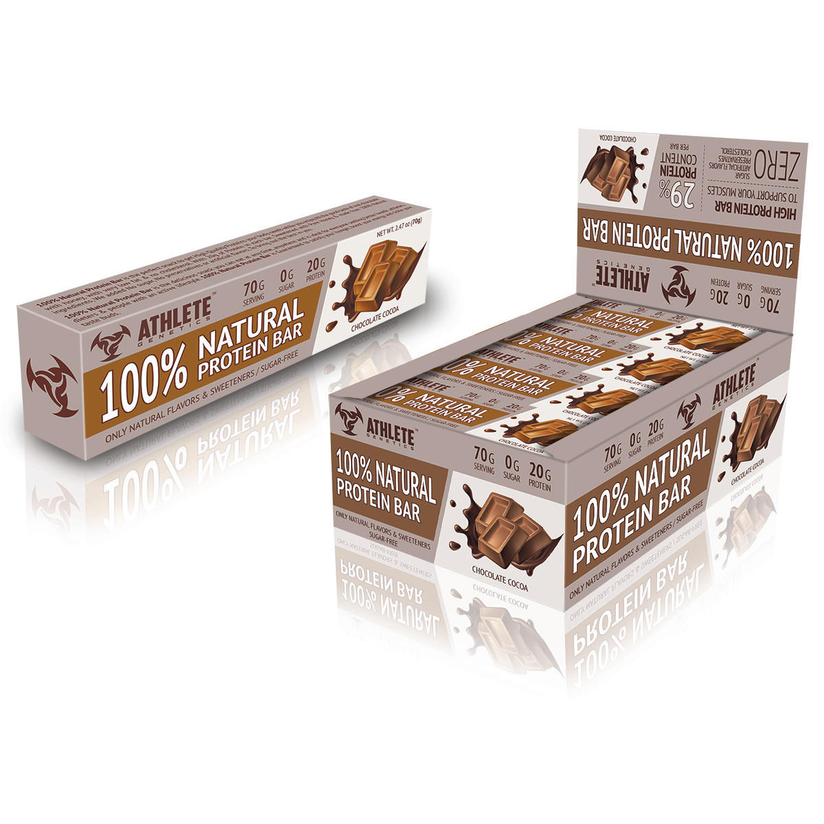 Батончик Athlete Genetics - 100% Natural Protein Bar (70 грамм)  chocolate cocoa/шоколад какао