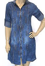 Джинсовое платье туника с капюшоном с стразами, фото 3