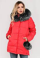 Зимняя модная женская куртка с бубонами и мехом, на силиконе Modniy Oazis красный 90317/1