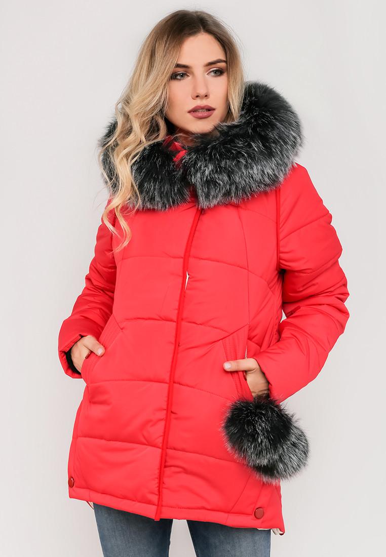 Зимняя модная женская куртка с бубонами и мехом, на силиконе Modniy Oazis красный 90317/1, фото 1