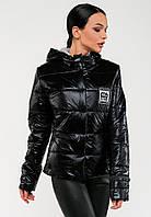 Короткая женская демисезонная куртка с капюшоном Modniy Oazis черный 90318