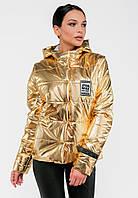 Короткая женская демисезонная куртка с капюшоном Modniy Oazis золото 90318/1, фото 1