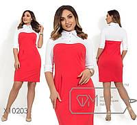 Короткое платье приталенного кроя с фигурными вытачками, кокеткой на пуговках и рукавами, 3 цвета
