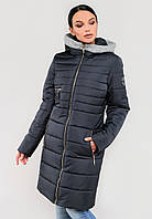 Длинная полуприталенная зимняя куртка на силиконе с барашком на капюшоне Modniy Oazis синий 90319
