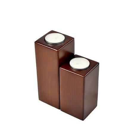 Подсвечник дерево скандинавский стиль на две свечи - прямоугольники, фото 2