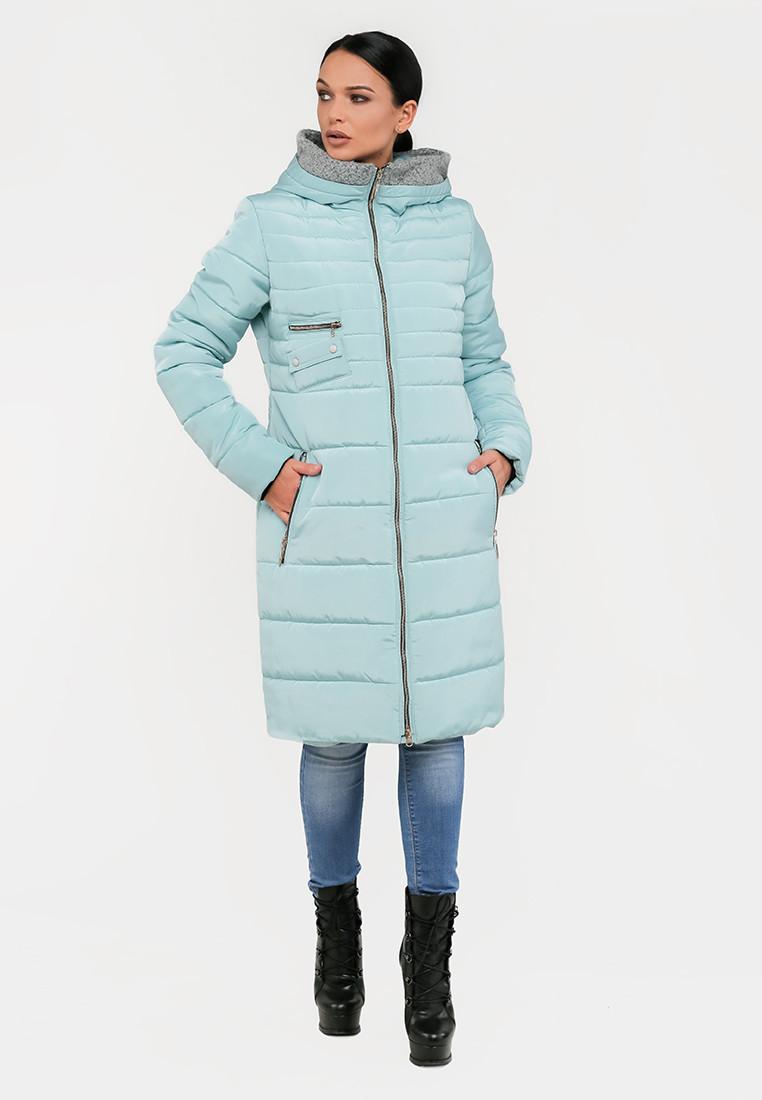 Длинная полуприталенная зимняя куртка на силиконе с барашком на капюшоне Modniy Oazis  голубой 90319/2, фото 1