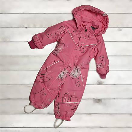 Термо комбинезон демисезонный  для девочки от 6 месяцев до 2-х лет розовый, фото 2