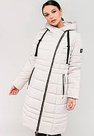 Длинная зимняя куртка косуха на силиконе с капюшоном Modniy Oazis белый 90320/3, фото 1