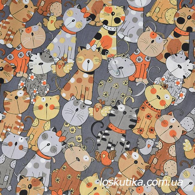 48012 Ткань с кошечками. Ткань с рисунком, детские ткани. Хлопковые ткани для домашнего текстиля.